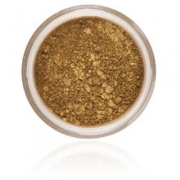 Autumn cień do powiek, przyziemny z domieszką złotego koloru, mocno napigmentowany i wegański, nietestowany na zwierzętach.