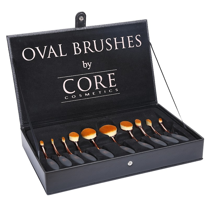 Oval Brushes Rose Gold 10 Set Brushes Box