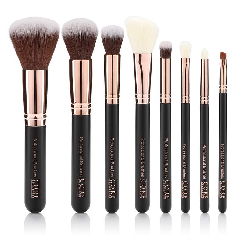 Rose Guld 8 Set Professionella Makeup Borstar i läderbox